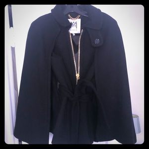 Milly Black Belted Cape Coat - Size Small